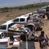 شاهد… أبناء قبيلة بني مطر يقدمون قافلة غذائية دعما للجيش واللجان الشعبية