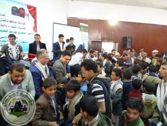 مؤسسة الشهداء تدشن مشروع الحقيبة المدرسية المتكاملة في مهرجان كبير حضره الداعمون وأولاد الشهداء
